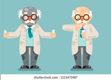 Mad scientist experiment old wise smart chemical test tubes cartoon design flat icons set vector illustration