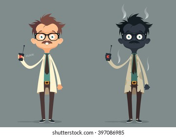 Mad Scientist. Failed Experiment: Burned. Vector Illustration