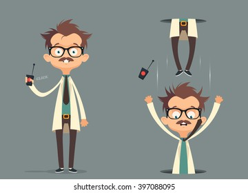 Mad Scientist. Failed Experiment: Portal. Vector Illustration