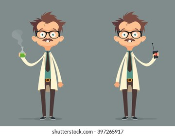 Mad Scientist Holding Test Tube and Remote Controller. Vector Set