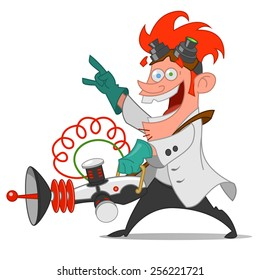 mad scientist with laser. Vector illustration.