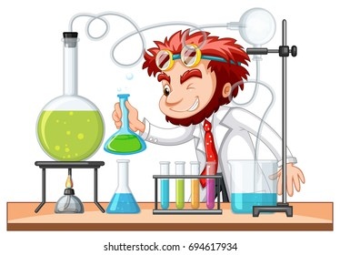 Mad scientist mixes chemical in lab illustration