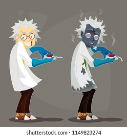 Mad Scientist professor in lab coat and blue rubber gloves. Failed Experiment Burned. Funny cartoon vector illustration.