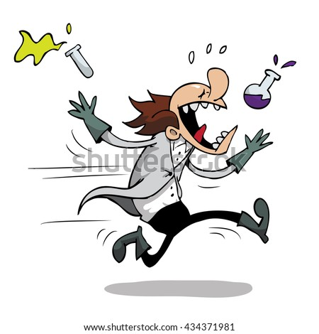 Mad Scientist Running Away From A Bad Experiment