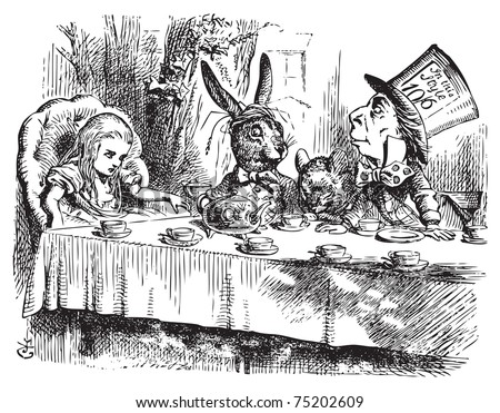 Mad Tea Party Alice Wonderland Original Vector de stock (libre de ...