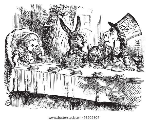 マッド ハッターのお茶会不思議の国のオリジナルのビンテージ彫刻をしたアリス キチガイ帽子とヤマネと白うさぎのお茶会 不思議の国のアリス の冒険 ジョン テニエルのイラスト のベクター画像素材 ロイヤリティフリー