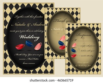 Mad tea party wedding invitation set. RSVP. Thank you card.