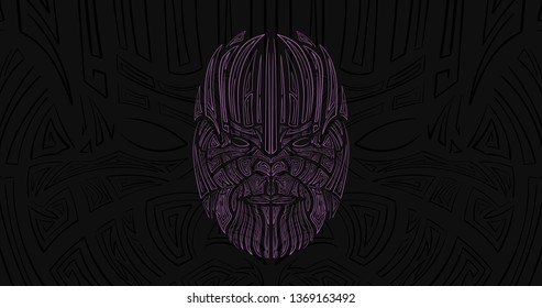 Mad Thanos. Titan character face icon. Line art poster.