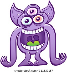 Mad three-eyed alien with pointy ears, big mouth, purple skin and long arms while staring at you, laughing animatedly and mocking at you