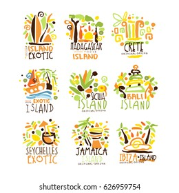 Madagascar, Crete, Bali, Seychelles, Ibiza, Jamaica resort set for label design. Summer beach tourism and rest logo vector Illustrations