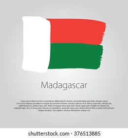 Madagascar Flag with colored hand drawn lines in Vector Format