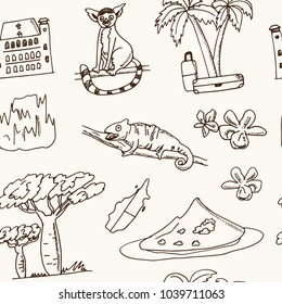 Madagascar hand drawn doodle seamless pattern. Sketches. Vector illustration for design and packages product. Symbol collection.