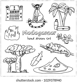 Madagascar hand drawn doodle set. Sketches. Vector illustration for design and packages product. Symbol collection.