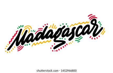 Madagascar. Hand-written text, typography, calligraphy, lettering. Handwriting of word Madagascar. Vector
