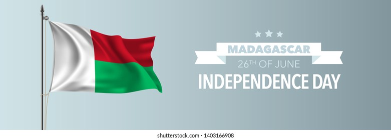 Madagascar happy independence day greeting card, banner vector illustration. Malagasy national holiday 26th of June design element with waving flag on flagpole