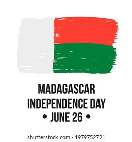 Madagascar Independence Day lettering with brush stroke flag. National holiday celebrated on June 26. Vector template for typography poster, banner, greeting card, flyer, etc.