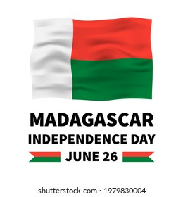 Madagascar Independence Day lettering with flag isolated on white. National holiday celebrated on June 26. Vector template for typography poster, banner, greeting card, flyer, etc.