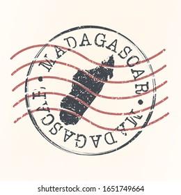 Madagascar Stamp Map Postal Design. A Silhouette Seal Passport Round Design. Old Vector Icon Retro Design Travel.