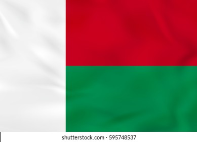 Madagascar waving flag. Madagascar national flag background texture. Vector illustration.
