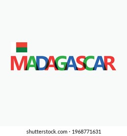 Madagascar's colorful typography with its national flag. African nation typography.