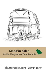 Mada'in Saleh pre-islamic archaelogical site in Saudi Arabia. Also called Al-Hijr or Hegra, it is situated at Al-Ula, Al Madinah Region of KSA. Available in Editable Isolated Vector.