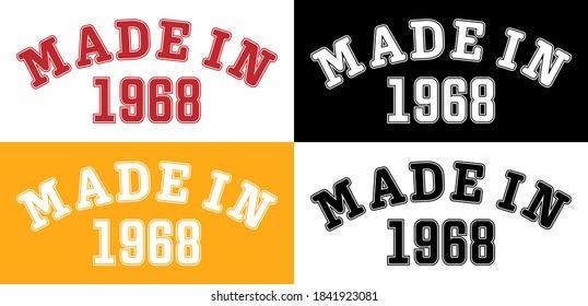 FAIT EN 1968. Lettres de l'année de naissance ou manifestation spéciale pour l'impression sur vêtements, logos, autocollants, bannières et autocollants, isolés sur fond blanc