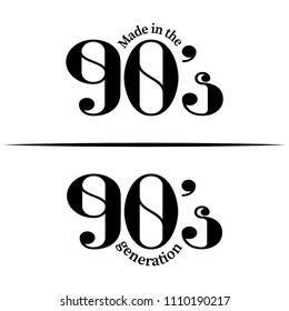 'Made in 90's/ 90's generation' - Hand drawn lettering quote. Vector illustration. Good for scrap booking, posters, textiles, gifts.