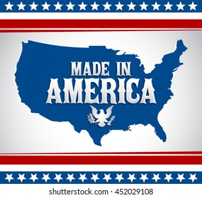 Made in America emblem with map - Vector illustration