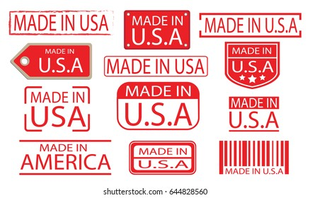 made in america label banner vector set