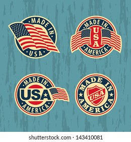 Made in America - set of badges and labels. EPS 8, CMYK