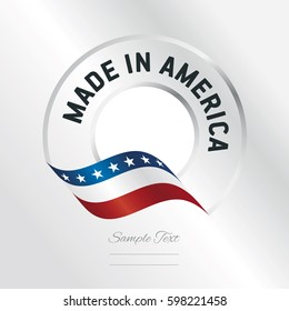 Made in America transparent logo icon silver background