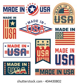 Made in America (USA) - set of different labels, badges, stamps. Isolated on white.