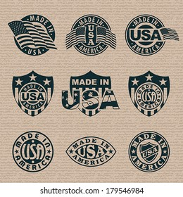 Made in America (USA) - set of stamps, labels. EPS 8, CMYK.