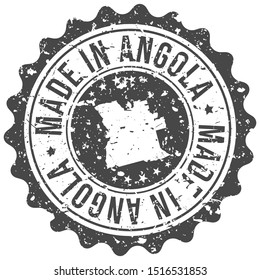Made In Angola. Map Travel Stamp. Icon Country Design. National Export Seal.