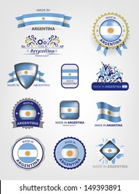 Made in Argentina, Seals, Flags Collection (Vector)