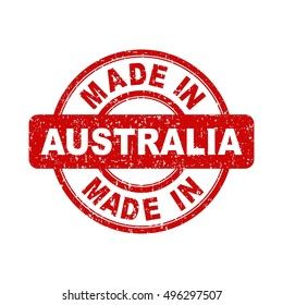 Made in Australia red stamp. Vector illustration on white background