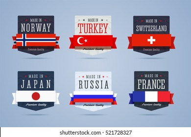 Made in badges set. Norway, Turkey, Switzerland, Japan, Russia and France emblems. Vector illustration in flat style.