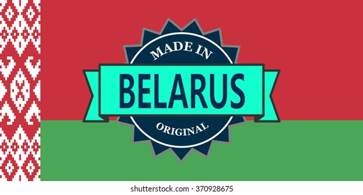 Made in Belarus label on country flag
