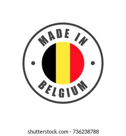 """Made in Belgium"" badge with Belgian flag"