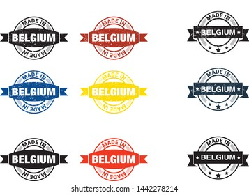 Made in Belgium  collection of ribbon, label, stickers, badge, icon and page curl with Belgium  flag symbol. Vector illustration isolated on white background.  Stamp with Made in Belgium  text.