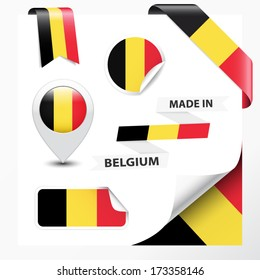 Made in Belgium collection of ribbon, label, stickers, pointer, badge, icon and page curl with Belgian flag symbol on design element. Vector EPS10 illustration isolated on white background.