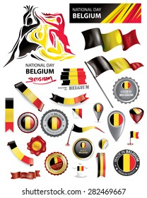 Made in Belgium Seal Collection, Belgian Flag, National Day (Vector Art)