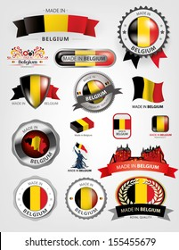 Made in Belgium, seals, flags, Vector ribbons
