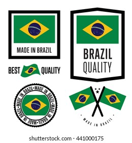 Made in Brazil. Export icon collection. Brazilian production identity. Made in Brazil label, stamp, seal, sticker, print set isolated on white background. Commercial warranty sign vector illustration
