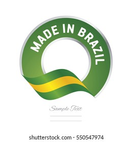 Made in Brazil flag green color label button banner