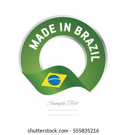 Made in Brazil flag green yellow color label button banner