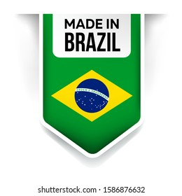 made in brazil flag ribbon on a white background