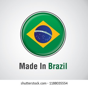 Made In Brazil icon with modern flag .
