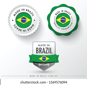 Made in Brazil icon set isolated on white background ,for infographics and banner templates : Vector Illustration