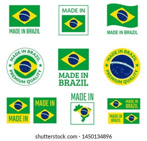 made in Brazil labels set, Federative Republic of Brazil product emblem